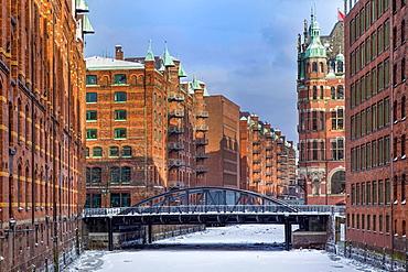 Speicherstadt in winter with snow, Hamburg, Germany, Europe