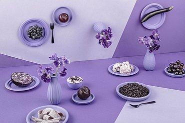 Laid table in violet, perspective, surreal, eggplant, red cabbage, rice, yogurt, grapes, apple, flowers, cauliflower, still life, food photography, studio photography, Italy, Europe
