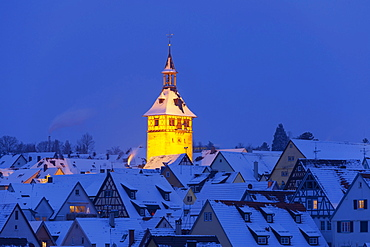 View over the roofs of the old town with church tower, Marbach am Neckar, Baden-Wuerttemberg, Germany, Europe