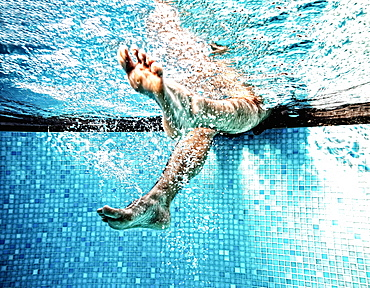 Men's feet, feet under water, gymnastics under water, water gymnastics, Germany, Europe