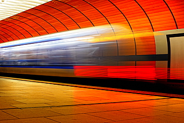 Light tracks of a moving subway, Munich, Germany, Europe