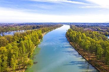 Inn and Lake Happingen, near Rosenheim, Inn Valley, drone shot, Upper Bavaria, Bavaria, Germany, Europe