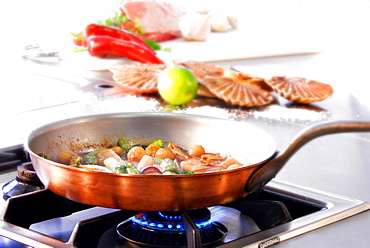 Pan with fish and mussels on gas stove, Germany, Europe