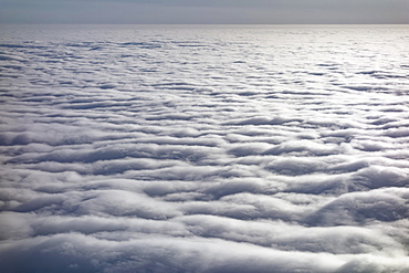 Closed cloud cover, above the clouds, seen from an airplane, Germany, Europe