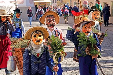Typical masks in the Maschkera procession at carnival, Mittenwald, Werdenfelser Land, Upper Bavaria, Bavaria, Germany, Europe