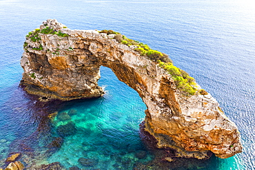 Rock gate Es Pontas in the sea, near Cala Santayi, near Santanyi, Migjorn region, drone shot, Majorca, Balearic Islands, Spain, Europe