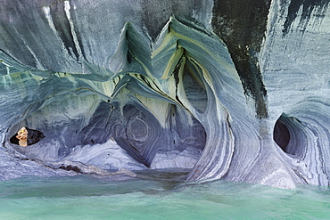 Marble Caves Sanctuary, Strange rock formations caused by water erosion, General Carrera Lake, Puerto Rio Tranquilo, Aysen Region, Patagonia, Chile, South America