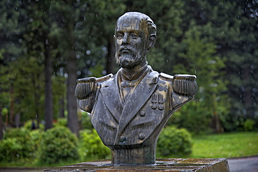 Arturo Prat Chacon Statue, Cochrane village, Pan-American Highway, Aysen Region, Patagonia, Chile, South America