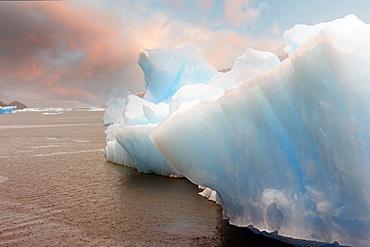Iceberg pattern, Jorge Montt Tidewater Glacier, Caleta Tortel, Aysen Region, Patagonia, Chile, South America