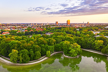 Kleinhesseloher See, English Garden, View of Schwabing and Freimann in the morning light, Munich, Aerial view, Upper Bavaria, Bavaria, Germany, Europe