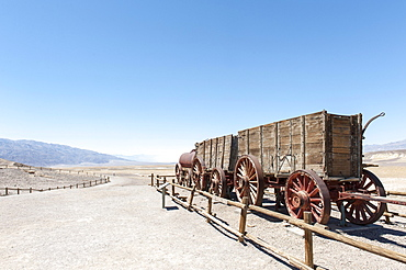 Desert, Historic Borax Mine, 20 mule team car, Harmony Borax Works, Death Valley National Park, California, USA, North America