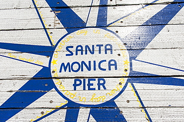 Painting on wood, lettering Santa Monica Pier, Santa Monica, Los Angeles County, California, USA, North America