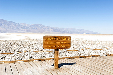 Salt plain, sign Badwater Basin, Death Valley National Park, California, USA, North America