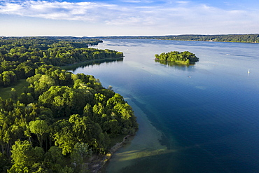 Aerial view of the Rose Island in Lake Starnberg, Upper Bavaria, Bavaria, Germany, Europe