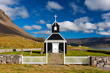 Saurbaejarkirkja, Saurbaer, Rauoisandur, Raudisandur, near Patreksfjoerdur, Westfjords, Iceland, Europe