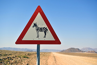Road sign warns of crossing zebras, Namibia, Africa