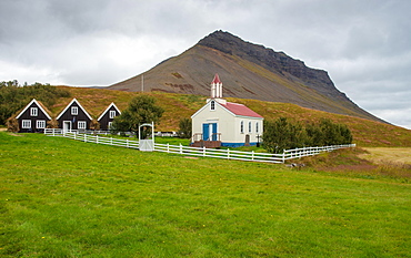 Church and granaries, old vicarage Hrafnseyri, Westfjords, Northwest Iceland, Iceland, Europe