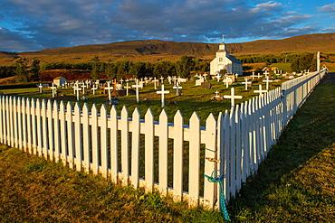 Church and cemetery, Hvammstangi, Westfjords, Northwest Iceland, Iceland, Europe