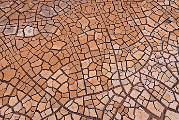 Cracks in clay soil form mosaic-like structure, geothermal field, Namafjall, Myvatn, Krafla volcanic system, Iceland, Europe