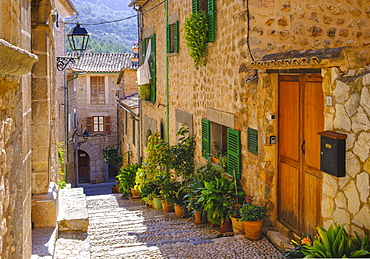 Flowerpots in alley with typical stone houses, Fornalutx, Serra de Tramuntana, Majorca, Balearic Islands, Spain, Europe
