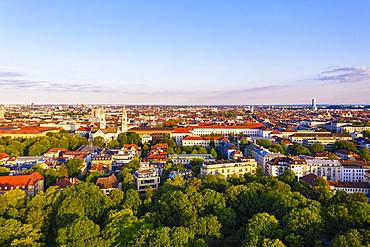 English Garden, view over Maxvorstadt and Schwabing, Munich, aerial view, Upper Bavaria, Bavaria, Germany, Europe