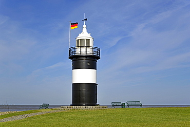 Lighthouse Kleiner Preusse at the port of Wremen, Wurster North Sea coast, Lower Saxony, Germany, Europe