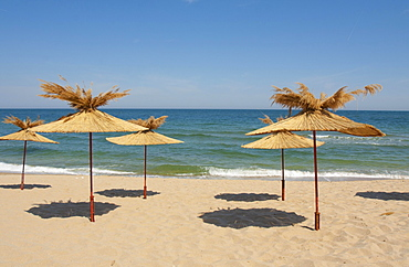 Umbrellas on the beach, St. Constantine and Helena resort, Varna province, Bulgaria, Europe