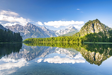 Almsee with reflection, Totes Gebirge, Gruenau, Almtal, Salzkammergut, Upper Austria, Austria, Europe