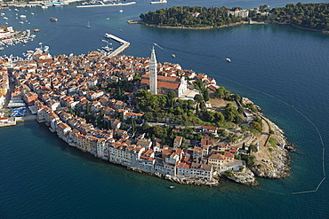 Aerial view of the Old Town of Rovinj, World Heritage Site, Istria, Croatia, Europe