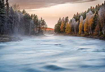 Autumnal atmosphere on the river in the evening light, Gaellivare, Norrbottens laen, Sweden, Europe