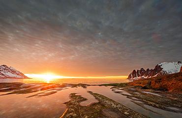Rocky beach of Tungeneset, rocky peak Devils Teeth, devil's teeth, Okshornan, in warm sunlight, stone fjords, Senja Island, Troms, Norway, Europe