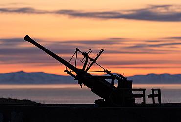Flak position, gun at the sea from the 2nd world war in the evening sun, Senjehestneset, Senja island, Troms, Norway, Europe