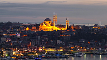 City view at dusk, Sueleymaniye Mosque, Sueleymaniye Camii, Suleiman Mosque, Golden Horn, Bosporus, Istanbul, European part, Turkey, Asia