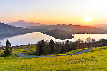Evening mood at Lake Zug with gills of the narrowest part of the lake, behind Pilatus, Walchwil, Canton Zug, Switzerland, Europe