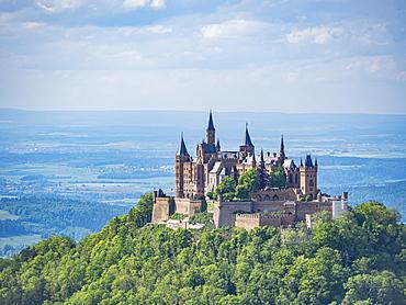 View of Hohenzollern Castle, Bisingen, Zollernalbkreis, Baden-Wuerttemberg, Germany, Europe