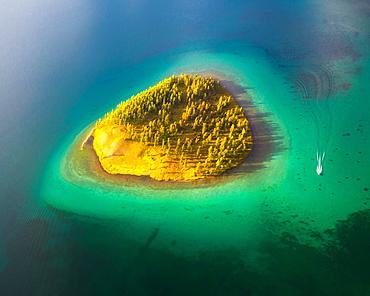 Island in Khuvsgul Lake. Khuvsgul province, Mongolia, Asia