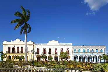 Restored historic buildings at the Parque Cespedes, Bayamo, Cuba, Central America