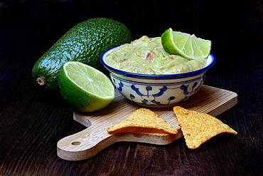 Bowl with guacamole, avocado, lime and tortilla chips, Germany, Europe