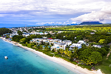 Aerial view, the beach of Flic en Flac and palm trees, Mauritius, Africa