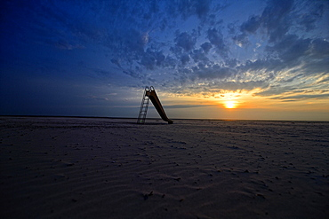 Dramatic sunset on the beach, Langeoog, East Frisian Islands, Germany, Europe