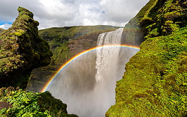 Rainbow in front of the big waterfall Skogafoss, Skogafoss, Skogar, Ring Road, Sudurland, Southern Iceland, Iceland, Europe