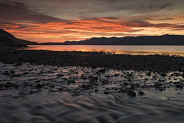 Evening mood, Hvalfjoerour or Walfjord, Southern Iceland, Iceland, Europe