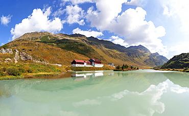 Mountain lake, Alpengasthof Zeinisjoch on the Zeinis lake, Ferwall group, Galtuer, Tyrol, Austria, Europe