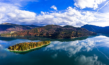 Aerial view, Walchensee, Sassau Island, Upper Bavaria, Bavaria, Germany, Europe
