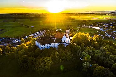 Aerial view, Andechs Monastery, Pfaffenwinkel, Lake Ammer, Upper Bavaria, Bavaria