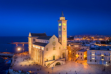 Aerial view, Italy, Southern Italy, Puglia, Trani, Cathedral of San Nicola Pellegrino, Sea Cathedral of Trani, Europe