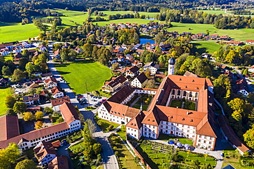 Aerial view Salesian Convent or Beuerberg Convent, Eurasburg, Toelzer Land, Upper Bavaria, Bavaria, Germany, Europe