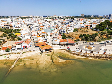 Aerial view of the coastal town of Alvor, Algarve, Portugal, Europe