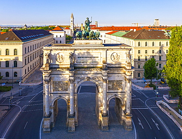 Siegestor, Ludwigstrasse, Maxvorstadt, Munich, Germany, drone shot, Upper Bavaria, Bavaria, Germany, Europe