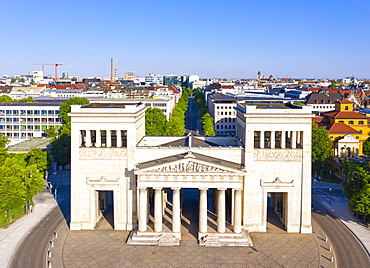 Propylaea at Koenigsplatz, Maxvorstadt, Munich, Germany, drone shot, Upper Bavaria, Bavaria, Germany, Europe